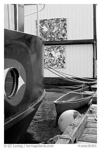 Detail of houseboat walls. Victoria, British Columbia, Canada (black and white)