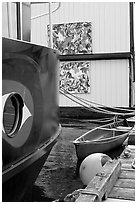 Detail of houseboat walls. Victoria, British Columbia, Canada ( black and white)