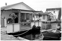 Houseboat, Upper Harbour. Victoria, British Columbia, Canada ( black and white)
