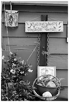 Whimsical decorations on houseboat. Victoria, British Columbia, Canada ( black and white)