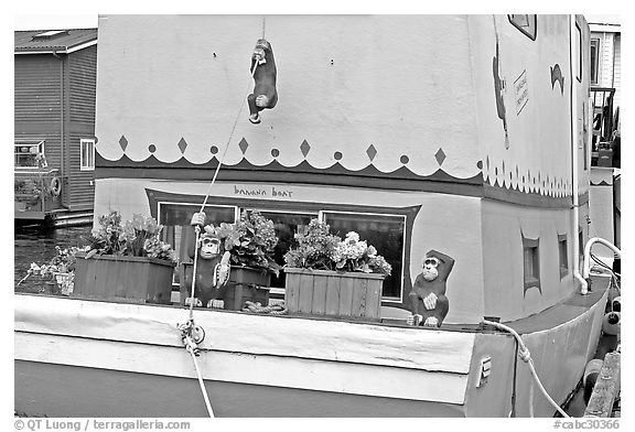 Houseboat decorated with a monkey theme. Victoria, British Columbia, Canada