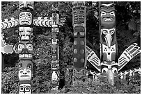 Totem collection near the Capilano bridge. Vancouver, British Columbia, Canada ( black and white)