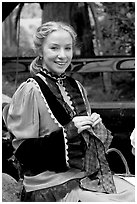 Woman in period costume. Vancouver, British Columbia, Canada (black and white)