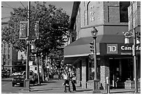 Chinatown street corner. Vancouver, British Columbia, Canada ( black and white)
