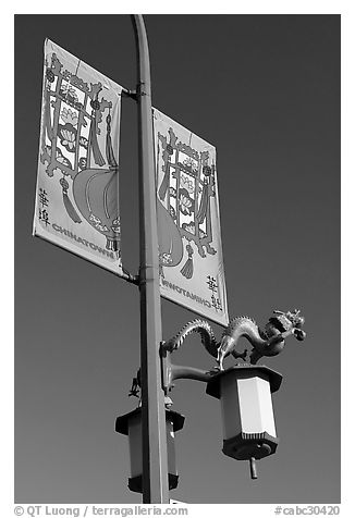 Street lamp and banner, Chinatown. Vancouver, British Columbia, Canada