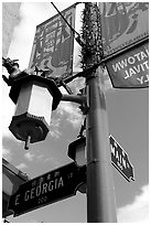 Street names in English and Chinese, Chinatown. Vancouver, British Columbia, Canada ( black and white)
