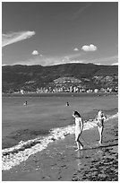 Girls on a beach, Stanley Park. Vancouver, British Columbia, Canada ( black and white)