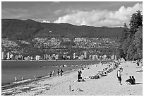 Beach, Stanley Park. Vancouver, British Columbia, Canada (black and white)