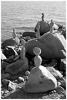 Balanced rocks. Vancouver, British Columbia, Canada (black and white)