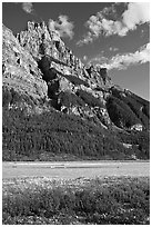 Mt Stephen and the Kicking Horse River, late afternoon. Yoho National Park, Canadian Rockies, British Columbia, Canada (black and white)