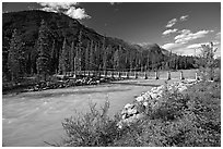 Suspension bridge spanning the Vermillion River. Kootenay National Park, Canadian Rockies, British Columbia, Canada (black and white)