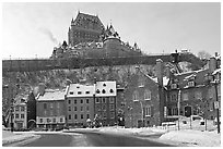 Chateau Frontenac on an overcast winter day, Quebec City. Quebec, Canada (black and white)
