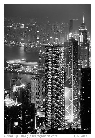Bank of China (369m) and Cheung Kong Center (290m) buildings  from Victoria Peak by night. Hong-Kong, China (black and white)