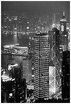 Bank of China (369m) and Cheung Kong Center (290m) buildings  from Victoria Peak by night. Hong-Kong, China ( black and white)