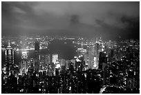 City lights from Victoria Peak by night. Hong-Kong, China ( black and white)