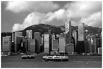 Star ferries and Hong-Kong island across the buy Hong-Kong harbor. Hong-Kong, China ( black and white)