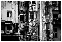 Facade of old buiding, Kowloon. Hong-Kong, China ( black and white)