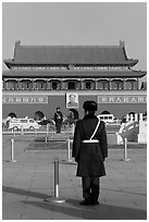 Gate of Heavenly Peace and guards, Tiananmen Square. Beijing, China (black and white)