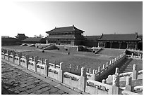 Hongyi Pavilion and inner court, Forbidden City. Beijing, China (black and white)