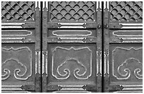 Door detail, imperial architecture, Forbidden City. Beijing, China (black and white)