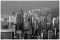 Modern skyscrapers seen from Victoria Peak, Hong-Kong island. Hong-Kong, China ( black and white)