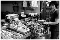 Food stall, Kowloon. Hong-Kong, China ( black and white)