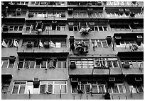 Detail of high-rise residential building in a popular district, Kowloon. Hong-Kong, China ( black and white)