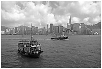 Ferries in the busy Hong-Kong harbor. Hong-Kong, China ( black and white)