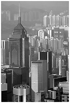 Tower buildings seen from Victoria Peak, late afternoon, Hong-Kong Island. Hong-Kong, China ( black and white)