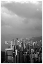 Hong-Kong citiscape from Victoria Peak, sunset. Hong-Kong, China ( black and white)