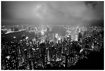 Hong-Kong night citiscape lights from Victoria Peak. Hong-Kong, China ( black and white)