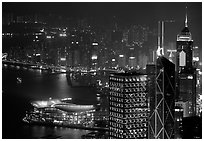 High-rise lights from Victoria Peak at night. Hong-Kong, China ( black and white)