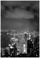 Skycraper Hong-Kong city lights from Victoria Peak at night. Hong-Kong, China ( black and white)