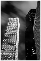 Cheung Kong Center (290m) building at night. Hong-Kong, China ( black and white)