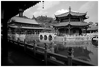 Octogonal pavilion of Yuantong Si, a 1200 year old Tang dynasty Buddhist temple. Kunming, Yunnan, China (black and white)