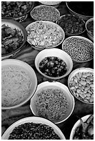 food ingredients in bowls.  ( black and white)