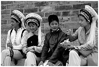 Women wearing traditional Bai dress. Dali, Yunnan, China (black and white)