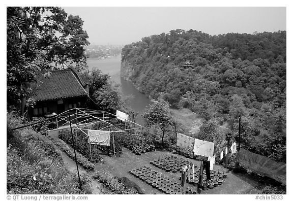 Cultures on Wuyou Hill. Leshan, Sichuan, China (black and white)