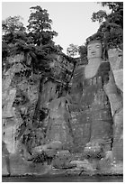 Da Fo (Grand Buddha) seen from the river. Leshan, Sichuan, China ( black and white)