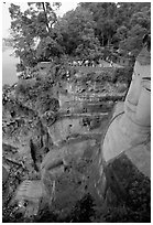 Da Fo (Grand Buddha) with staircase in cliffside and river in the background. Leshan, Sichuan, China ( black and white)