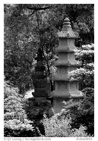 Stupa in the gardens of Wuyou Si. Leshan, Sichuan, China (black and white)