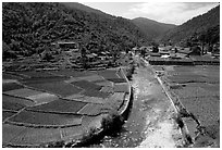 Village on the road between Lijiang and Panzhihua. (black and white)
