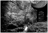 Qingyin pavillon and stream. Emei Shan, Sichuan, China ( black and white)