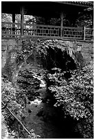 Covered bridge between Qingyin and Hongchunping. Emei Shan, Sichuan, China ( black and white)