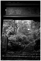 Archway gate over the staircase between Qingyin and Hongchunping. Emei Shan, Sichuan, China ( black and white)