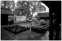 Courtyard of Hongchunping temple in the rain. Emei Shan, Sichuan, China ( black and white)