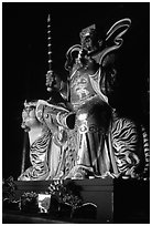 Sculpture inside Xiangfeng temple. Emei Shan, Sichuan, China ( black and white)