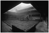 Courtyard inside  Xiangfeng temple. Emei Shan, Sichuan, China ( black and white)