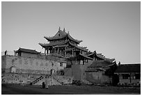 Jinding Si temple,  evening. Emei Shan, Sichuan, China ( black and white)