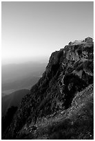 Sunrise on Jinding Si (Golden Summit), perched on a steep cliff. Emei Shan, Sichuan, China ( black and white)